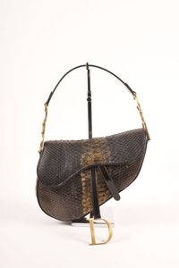 Dior Christian Brown Bronze Python Leather Saddle Shoulder Bag