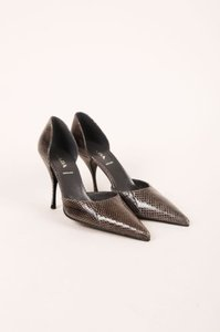 Prada Dark Gray Snakeskin Pumps