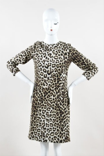 be87c335b774 on sale Rag & Bone Rag Bone Cream Brown Silk Leopard Print Quarter Sleeve  Dress