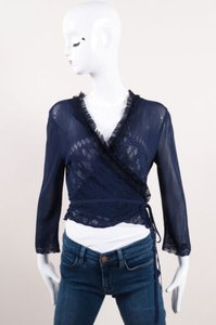 Chanel Blue Knit Tulle Ruffle Trim Cc Logo Wrap Tie Cropped Sweater