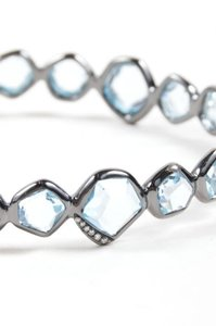 Ippolita Ippolita Black Rhodium Blue Topaz Diamond Mini Hero Bangle Bracelet