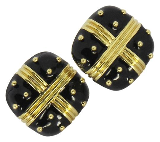 Hidalgo Striking Black Enamel and Gold Hidalgo Earrings