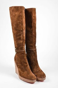 Christian Louboutin Suede Leather Wedge Love Story Brown Boots