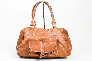 Balenciaga Distressed Leather Front Pocket Slouchy Satchel in Brown