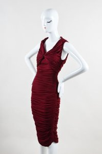 Lanvin Burgundy Stretch Knit Long Sl Dress