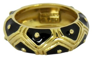 Hidalgo Hidalgo Black Enamel and Gold Ring