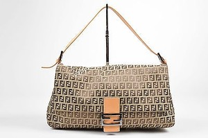 Fendi Ff Monogram Canvas Zucchino Mama Forever Shoulder Bag