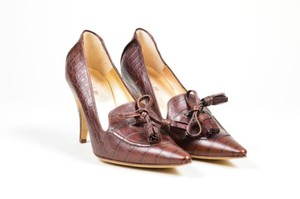 Etro Alligator Embossed Brown Pumps