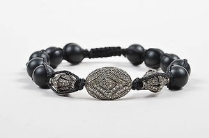 Other Silver Tone Black Onyx Pave Diamond Handmade Beaded Cord Bracelet