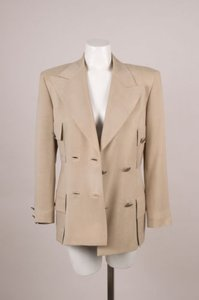 Versace Vintage Versace Beige-taupe Double-breasted Boxy Blazer