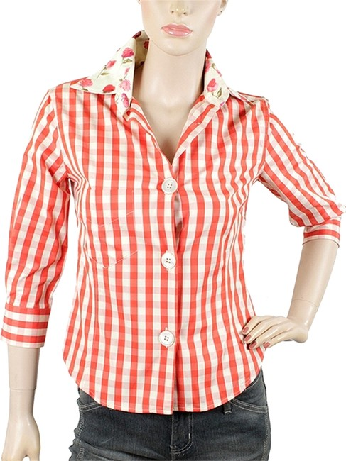 Paul Smith Checkered Floral Formal Cotton Mother Of Pearl Print Summer Button Down Shirt Red, Orange, White