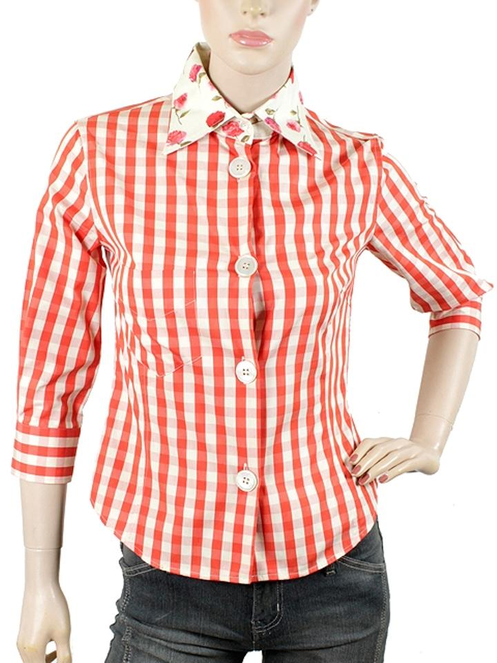 Paul Smith Red, Orange, White - Gingham Checkered Shirt With ...