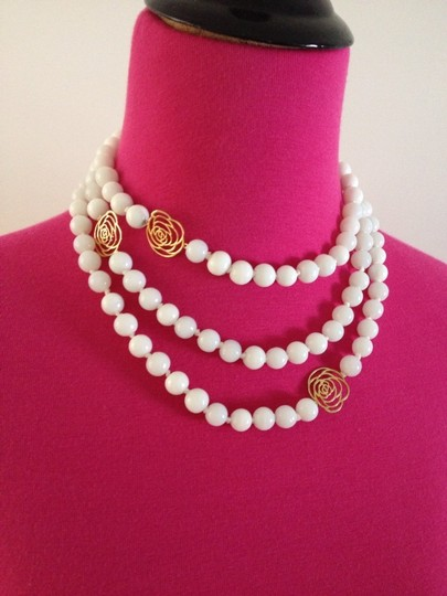 "Jardin New Jardin 27"" Faux Pearls & Gold Camellia Flower Necklace"