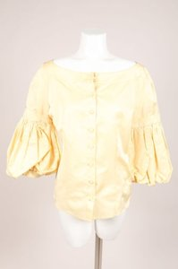 Escada Pale Yellow Silk Puffy Top