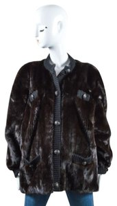 Other Revillon Dark Black Fur Knit Button Down Long Sleeve Oversized Coat