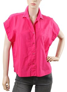 Sportmax Sheer Silk Crop Button Down Shirt Pink