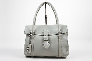 Fendi Pebbled Leather Selleria Linda Handbag Tote in Gray