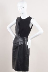 J. Mendel J Black Leather Wool Crepe Contrast Pleated Sheath Dress
