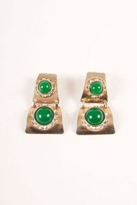 Vintage Gold Tone Green Stone Rhinestone Embellished Link Drop Clip On Earrings