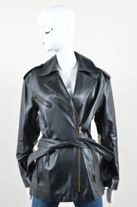 Donna Karan Leather Zip Up Belted Long Sleeve Moto Black Jacket