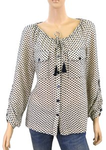 Tory Burch Polka Dot Cotton Embroidered Top Black, Stone, Grey