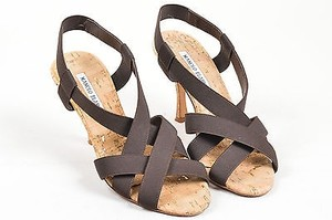 Manolo Blahnik Brown Canvas Black Sandals