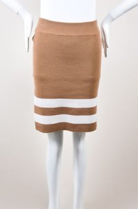 Edun Camel Cream Striped Hem Skirt Brown
