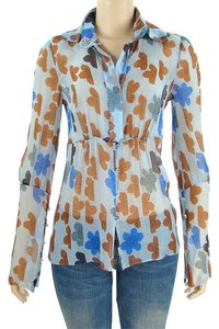 Tuleh Sheer Floral Print Trumpet Silk Chiffon Button Down Shirt Blue, Brown