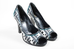 Fendi White Teal Canvas Black Pumps