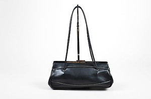 Gucci Leather Silver Satchel in Black
