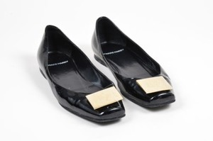 Pierre Hardy Hardy Gold Tone Patent Leather Cube Detail Square Toe Black Flats