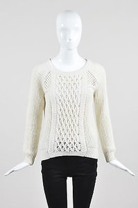 MILLY Cream Wool Blend Ribbed Sweater