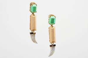 House Of Lavande Gold Tone Everglades Stone Mother Of Pearl Earrings