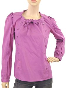 Yves Saint Laurent Cott Cotton Drawstring Trumpet Top Purple