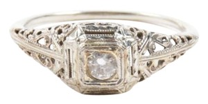 Vintage Silver Tone Cut Out Embellished Crystal Stone Ring