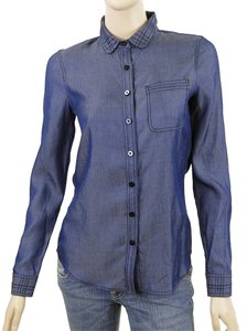 Zac Posen Denim Button Down Button Down Shirt Denim, Blue