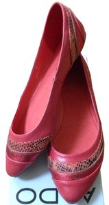 ALDO Metallic Animal Print Red Flats