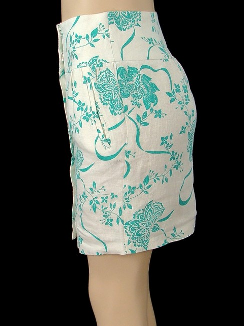 Abaete Linen Floral Pencil Skirt White, Turquoise Image 2