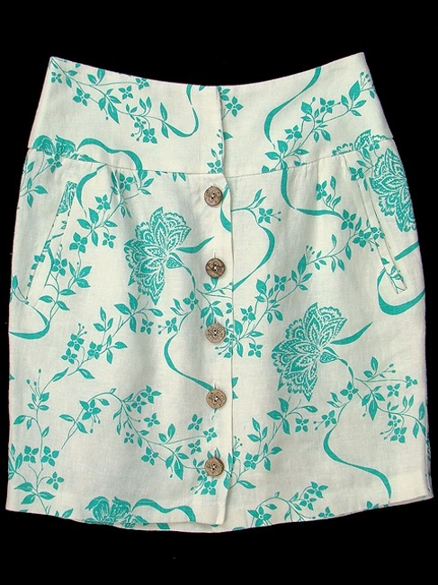 Abaete Linen Floral Pencil Skirt White, Turquoise