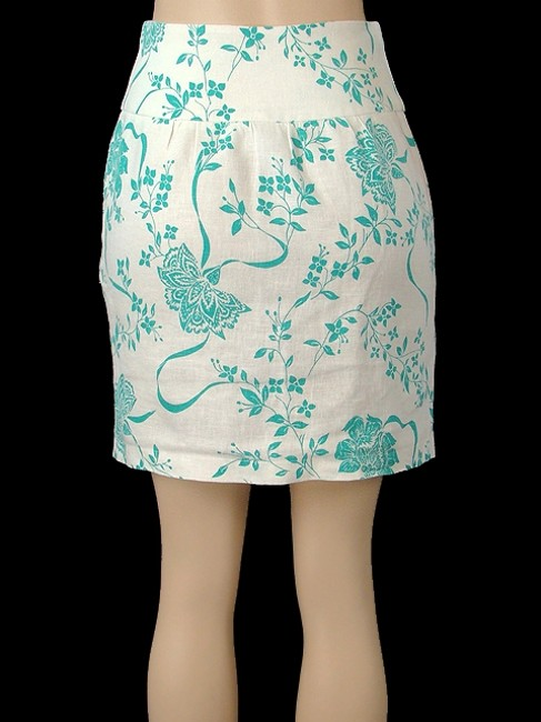 Abaete Linen Floral Pencil Skirt White, Turquoise Image 4