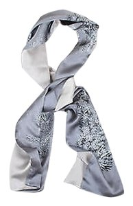 Michele Oberdieck Gray Silver-tone Silk Branch Printed Oblong Scarf