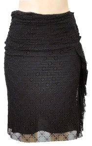 Alessandro Dell'Acqua Cat Eye Embroidered Silk Drape Draped Skirt Black