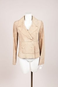 Chanel Identification 00c Suede Leather Distressed Tan Jacket