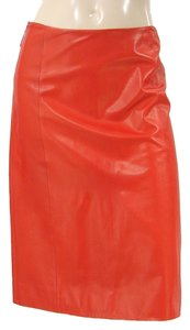Carolina Herrera Leather Pencil A-line Skirt Red