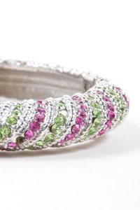 Vintage Silver Tone Pink Green Rhinestone Striped Hinged Bangle Bracelet