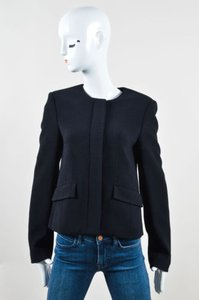 Wes Gordon Textured Fitted Zip Front Black Jacket