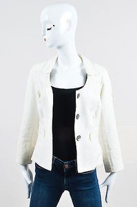 Christian Lacroix Christian Lacroix White Waffle Textured Embroidered Ls Jacket