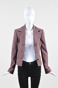 Dolce&Gabbana Dolce Gabbana Pink Brown Black Woven Tweed Button Tailored Blazer