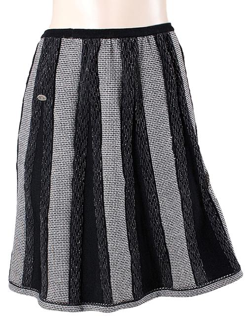 Chanel Tweed Houndstooth A-line Sparkle Skirt Black, White, Grey