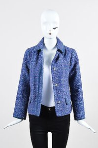 Marc Jacobs Marc Tweed Snap Front Blue Jacket